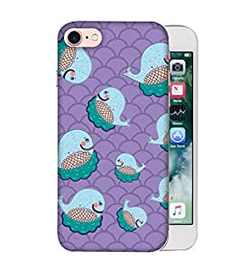 ColorKing Apple iPhone 8 Case Shell Cover - Whales Multi Color