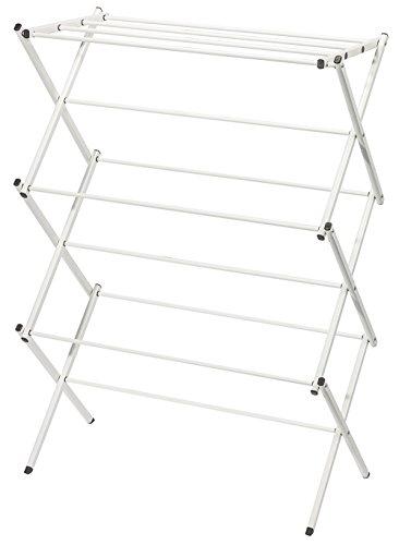 STORAGE MANIAC XL Foldable Clothes Drying Rack, 41 Inch Height, Laundry Rack with Rustproof Coating, White