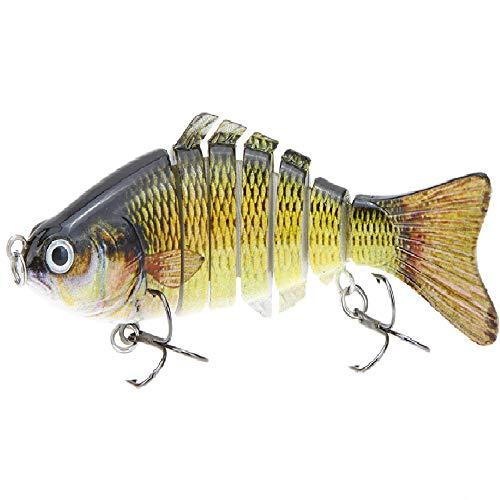 Lixada 10cm/4' 15.5g Bionic Multi Jointed Fishing Lure Sun-Fish Lifelike Hard Bait Bass Yellow Perch...