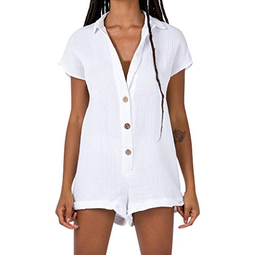 (GREFER Rompers Women's Casual Button Sling Jumpsuit Solid Siamese Shorts Tank Playsuit White)