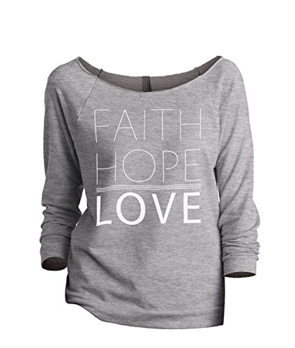 Faith Hope Love Women's Slouchy 3/4 Sleeves Raglan Sweatshirt Sport Grey Medium