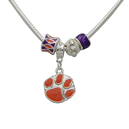 Rosemarie Collections Women's Clemson University National Champions Tiger Paw Pendant - Tigers Tigers Pendant Basketball