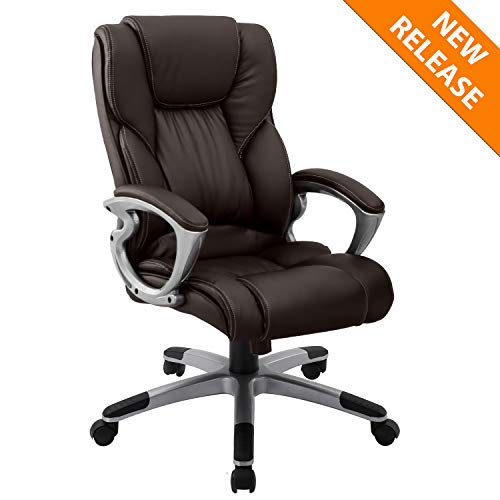 YAMASORO Leather Office Chair High Back Computer Gaming Desk Chair Executive Ergonomic Lumbar Support Brown - Leather Computer Black Task