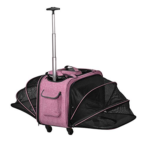 Xcellent Global Expandable Pet Carriers with Wheels & Detachable Bottom for Pets up to 33 lbs - Two Side Expansion - Portable Soft Sided Pet Luggage Great for Cats, Dogs, Kittens, Puppies PT045