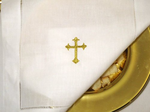Integrity Designs White Linen Altar Cloth Gold Cross Embroidery Altar Cross