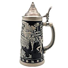 A German-themed stein that is classic and exclusive. This .75 Liter cobalt blue Beer Stein with an ornate metal lid incorporates all the themes of Germany's Oktoberfest which includes a beer wagon, hops, beer halls and much more.