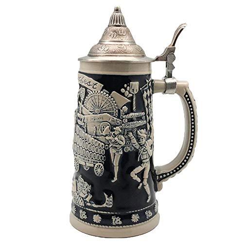 (Beer Stein Blue Munich Oktoberfest Beer Wagon Lidded Beer Mug by E.H.G | .75 Liter)