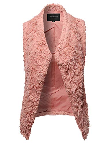 - Made by Emma Casual Warm Soft Fluffy Faux Fur Reversible Winter Vest Outwear Mauve L