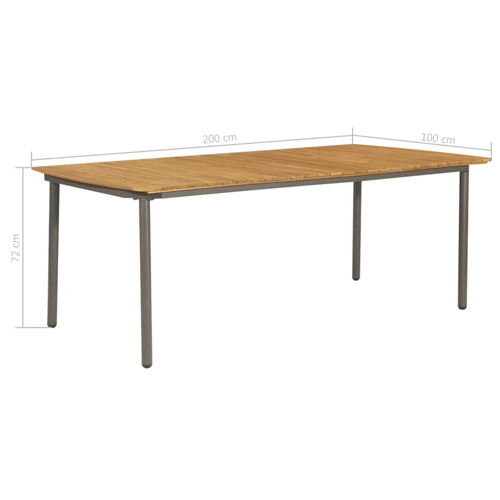 BIGTO Utomhus picknickbord massiv akacia trä och stål trädgård matbord (brun, 200 x 100 x 72 cm) Brown,200 X 100 X 72 Cm