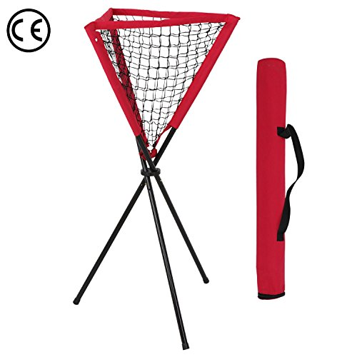 Heavy Duty Portable Folding Ball Caddy with Classy Carry Bag | Rubber Feet Prevents Damage to Gym Floors Lawn | Ideal for Baseball Softball Hitting Batting Fielding Practice | Easy Setup Hold Balls by HomeTech