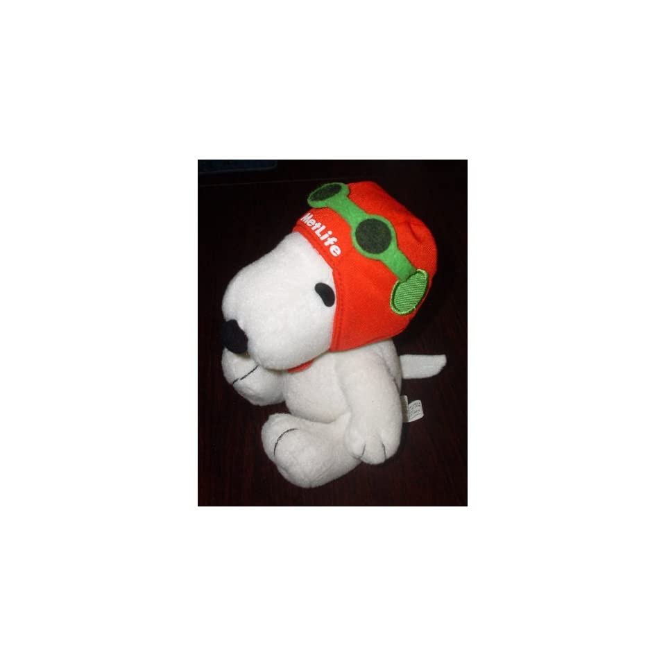 Extremely Rare Peanuts Metlife Flying Ace Pilot Snoopy w Red Helmet, Green Goggles