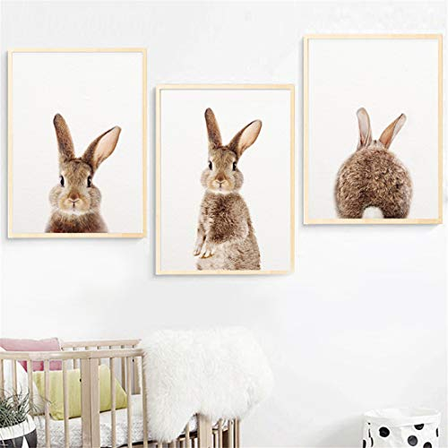 JESC Wall Art Canvas Painting Rabbit Animal Nordic Posters and Prints Bunny Nursery Wall Pictures for Living Room Kids Room- ()