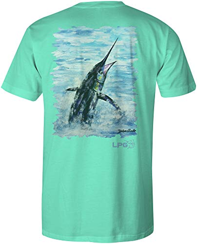 Pacific Fly Marlin Unisex Cotton Fishing Themed Short Sleeve T-Shirt (Sea Foam, 2XL)