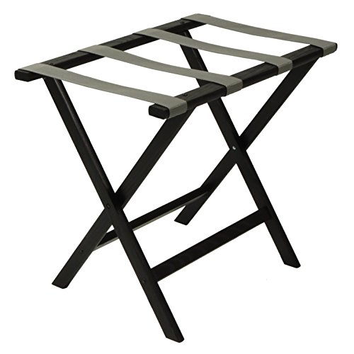 Rack Black Luggage (Wooden Mallet Deluxe Straight Leg Luggage Rack, Grey Straps, Black)