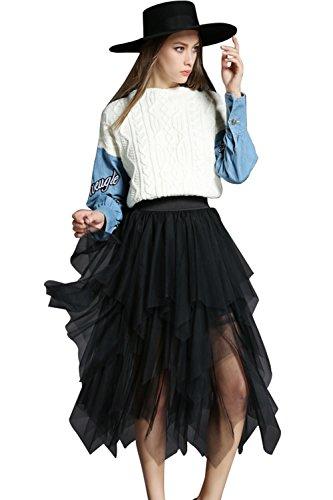 Women Summer Mesh Elastic Waist Irregular Hem Tulle Midi Dance Party Skirt