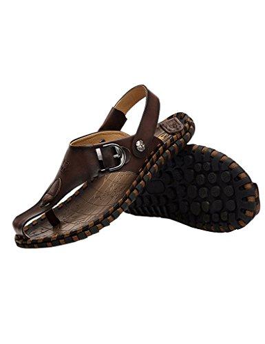 Foncé Chaussures Youlee Peep Cuir Été Marron pour Hommes Plage Sandales Orteil des PZC4Ux