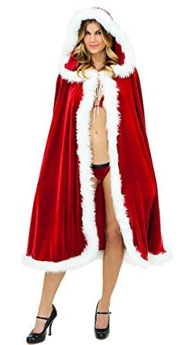 - G Lake Women Christmas Cloak Mrs Santa Cape Xmas Red Velvet Cappa Hooded Robe Cosplay Costume 59 Inch (Size L)