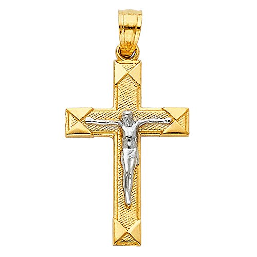 Wellingsale 14K Two 2 Tone White and Yellow Gold Polished Milgrain Religious Catholic Latin Crucifix Charm (Designer Yellow Crucifix)