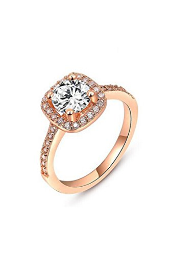 SODIAL Women's Crystal Engagement Wedding Jewelry Ring Rose