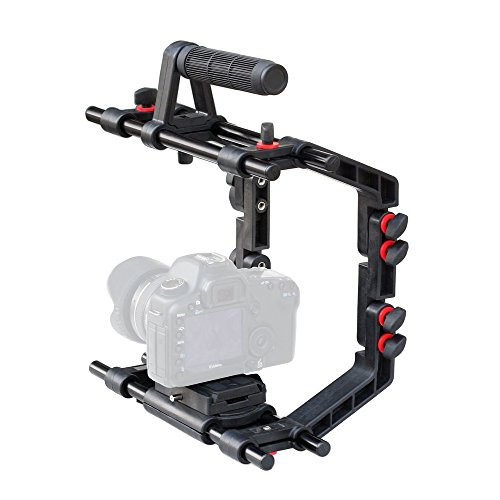 """FILMCITY Power 9"""" Camera Cage Mount with Top Handle, Quick Release, Tripod Plate & 15mm Aluminum Rods