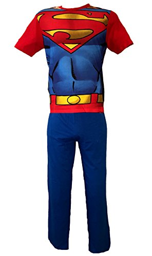 Pijamas de superhéroe para adultos multicolor Superman - Red/Blue Small