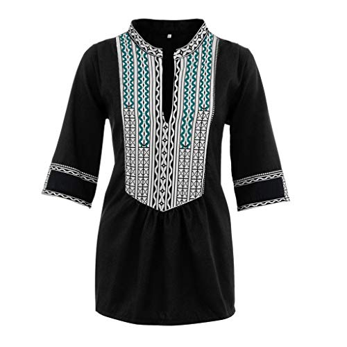 (Womens Summer Boho Embroidered V Neck Short Sleeve Tops Loose Casual T-Shirt Blouse Plus Size Black)