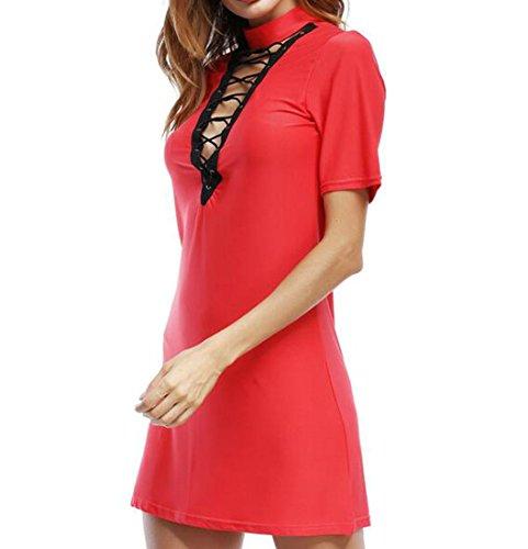 Domple Femmes Dentelle À Manches Courtes Élégant Up Solide Robe T-shirt Club Rouge