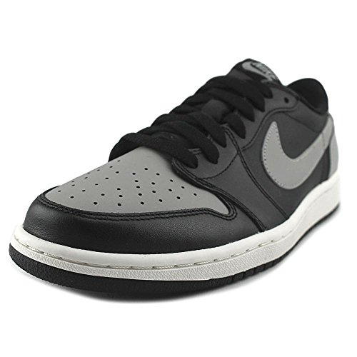 Nike Mens Air Jordan 1 Retro Low OG Shadow Black/Medium Grey-Sail Leather Size 12 (Retro Air Jordan Low Xii)