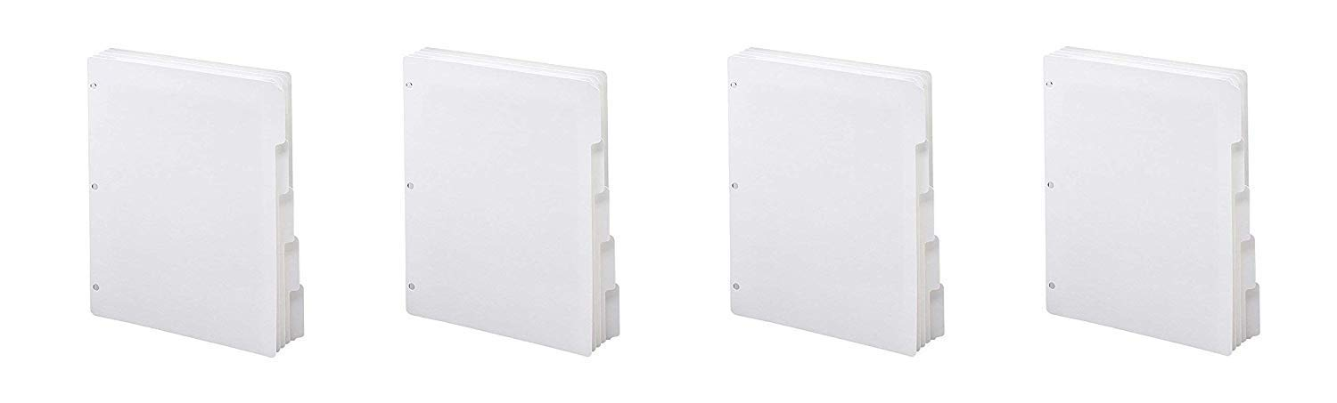 Smead Three-Ring Binder Index Dividers, 1/5-Cut Tabs, Letter Size, White, 100 Dividers (89415) (Pack of 4)