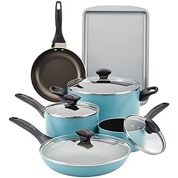farberware 15 piece dishwasher safe nonstick cookware set aqua kitchen dining. Black Bedroom Furniture Sets. Home Design Ideas
