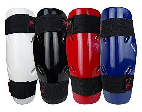 PROWIN1 Dipped Foam Sparring Shin Guards Pads for Martial Arts Karate Taekwondo Kickboxing MMA - Blue/Red/Black/White (Blue, XLarge)