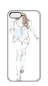 Hard Back Shell Case Cover iphone 5 case for teen girls - Illustration red dress girl figure