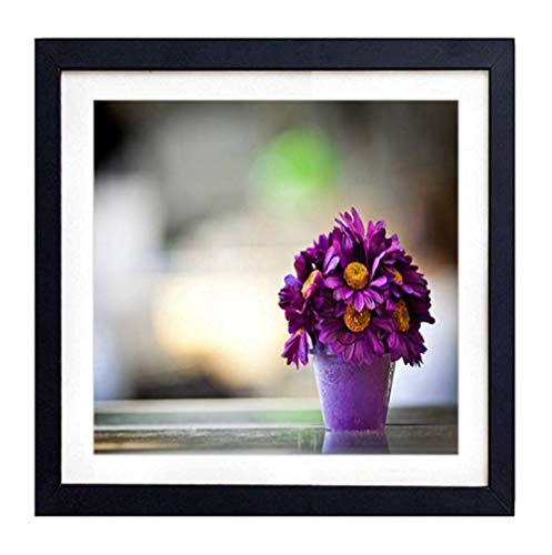 GLITZFAS PRINTS Framed Wall Art - Flower Pot Purple Petals - Art Print Black Wood Framed Wall Art Picture for Home Decoration - 20