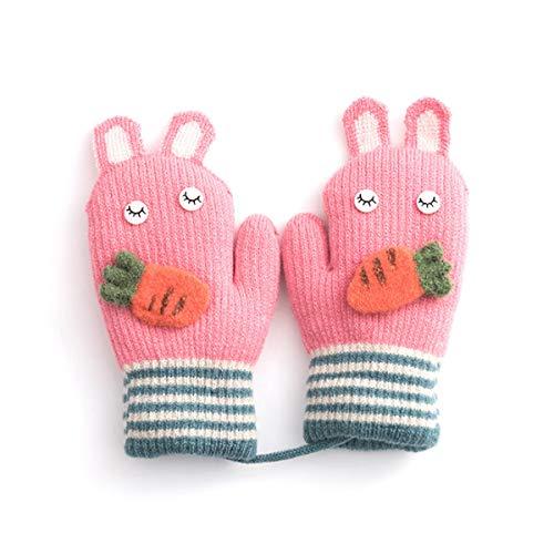 - Unisex Toddler Baby Cartoon Knit Gloves Winter Thick Stripe Warmer Mittens (Pink)