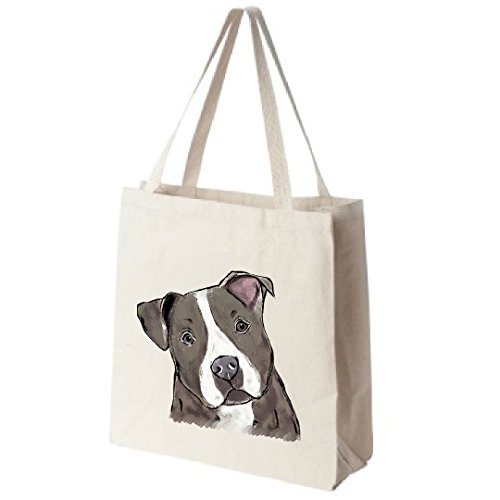 Blue Nose Pit Bull Tote Bags - Over 200 Different Breed and Animal Designs to Choose From - Extra Large 100% Cotton Over the Shoulder Handbags - Painted by Hand and Printed in the U.S.A.