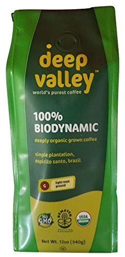 - DEEP VALLEY Organic Light Roast Ground Coffee, 12 OZ