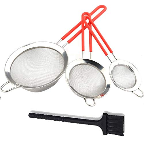 Gudui Fine Mesh Stainless Steel Strainer Set of 3 Sieve Colander Sets Wire Filter Mesh with Silicone Handles - Large, Medium & Small Size - Food Strainer & Sieve - Best for Kitchen, Quinoa, Tea