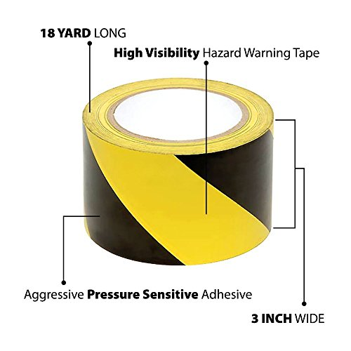TAPIX Black & Yellow Hazard Warning Safety Stripe Tape, 3 inch x 18 Yds Ideal For Walls, Floors, Pipes And Equipment.