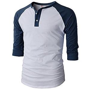 H2H Mens Casual Slim Fit Raglan Baseball Three-Quarter Sleeve Henley Premium T-Shirts Navy US XL/Asia 2XL (CMTTS0174)