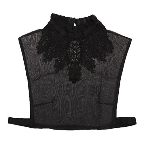 Noir avec Amovible Dtachable Chemisier Demi Bretelle Fixer Col shirt Faux Blouse Collier MagiDeal de vY1Oxx