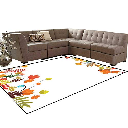 (Harvest Customize Door mats for Home Mat Colorful Seasonal Maple Aspen Leaves Frame Fall Foliage Environment Nuts Butterfly Bath Mats Carpet 6'x7' Multicolor)