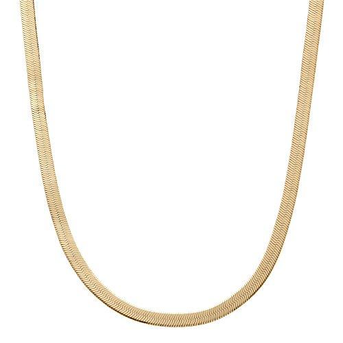 Palm Beach Jewelry Yellow Gold Tone Superflex Herringbone Chain Necklace 18