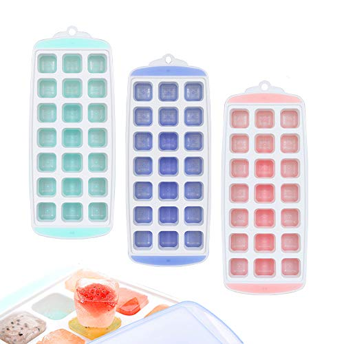 1 Oz Squeeze Bottle Lemon - 3 PACK Ice Cube Trays with Lids Easy-release Silicone Square Mold with Cover for Whisky Baby Food BPA Free Thanksgiving (1 inch Cube)