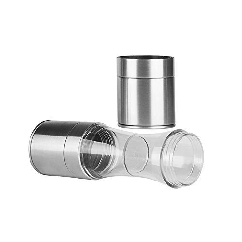 Dongsmer Salt and Pepper Grinder Set,Stainless Steel 2 IN 1 Spice Shakers Mill With Adjustable Coarseness Ceramic Grinding Core