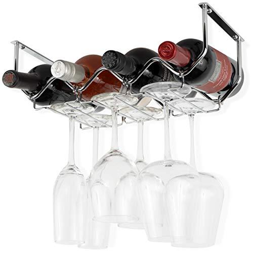 Wallniture Piccola Under Cabinet Wine Rack and Wine Glass Holder Bottle Organizer and Stemware Storage Metal Chrome