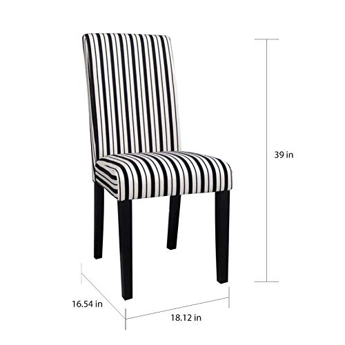 Somette White Striped Modern Parson Dining Chair (Set of 2)
