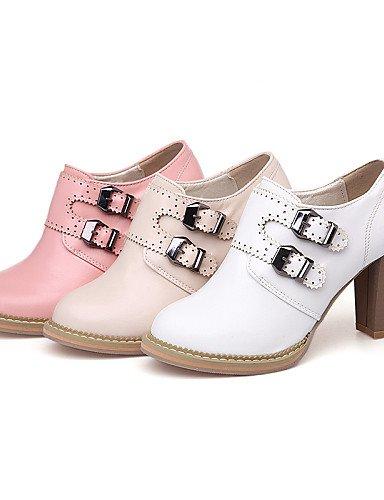 NJX/ hug Damenschuhe-High Heels-Outddor / Lässig-Kunstleder-Blockabsatz-Absätze / Komfort-Rosa / Weiß / Beige pink-us10.5 / eu42 / uk8.5 / cn43