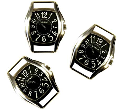 (TVT 2pcs Rectangle Watch Faces for Your Interchangeable Beaded Bands TVT-3382-2 (2pcs All Black))