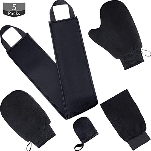 (Tanning Mitt Applicator Tan Mitt Applicator Kit 5 In 1 with Exfoliating Glove, Tanning Back Lotion Applicators for Back, Face Mitt and 2 Kinds of Gloves Tanner Mitt Tools (Black))