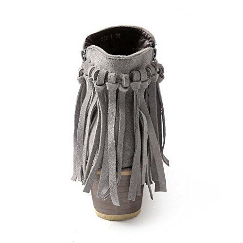 Allhqfashion Scarpe Da Donna Imitate In Camoscio Con Smerigliato E Stivali Con Nappe Grigie